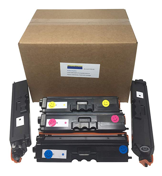 5 Compatible HL-L8260CDW Ink Toner Cartridge TN433/TN431 リプレイスメント for Brother TN-433/TN-431 (2 BK ブラック/C シアン/M Magenta/Y Yellow) L8260 CDW カラー Laser Printer (海外取寄せ品)