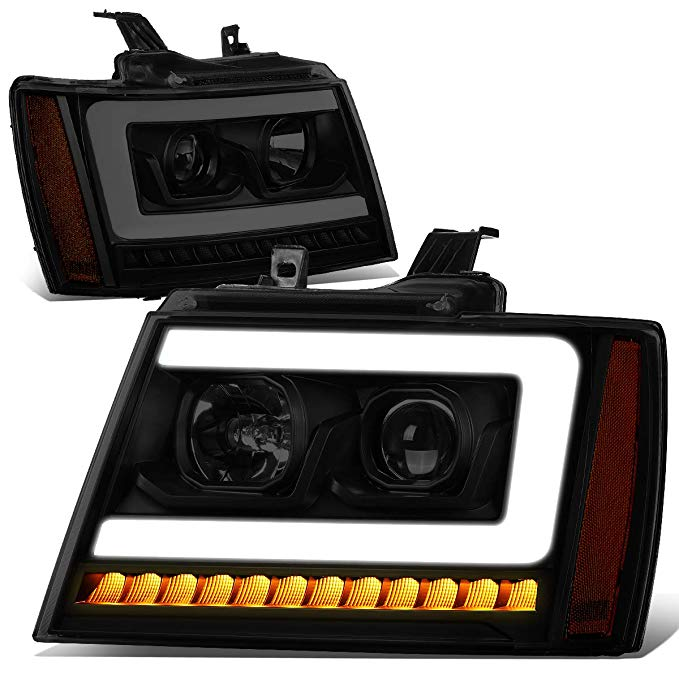DNA MOTORING HL-HPL-CSA07-BK-SM-AM LED DRL+Sequential Turn Signal Projector Headlight Headlamps (海外取寄せ品)[汎用品]