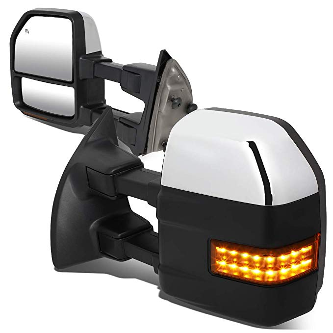 DNA MOTORING TWM-057-T999-CH-AM ペア Powered+Heated Towing ミラー w/LED Turn Signal Light (海外取寄せ品)[汎用品]