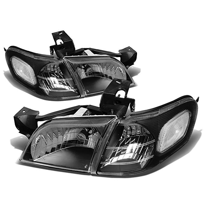 DNA Motoring HL-OH-CV974P-BK-CL1 Headlight Assembly (Driver & Passenger Side) (海外取寄せ品)[汎用品]