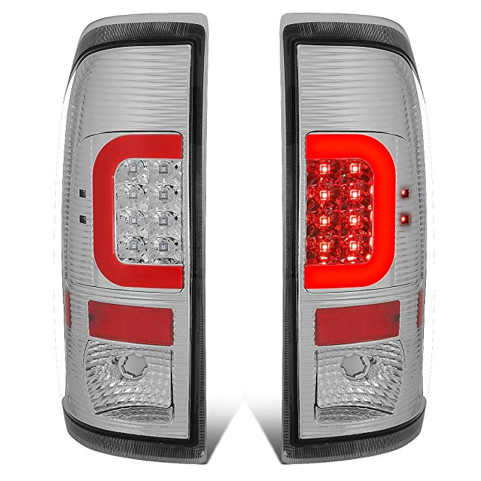 DNA Motoring TL-F25008-LED-RD3D-CH-G2 ペア クローム ハウジング Clear レンズ レッド 3D LED Tail ライト [08-16 Ford F250-F550] (海外取寄せ品)[汎用品]