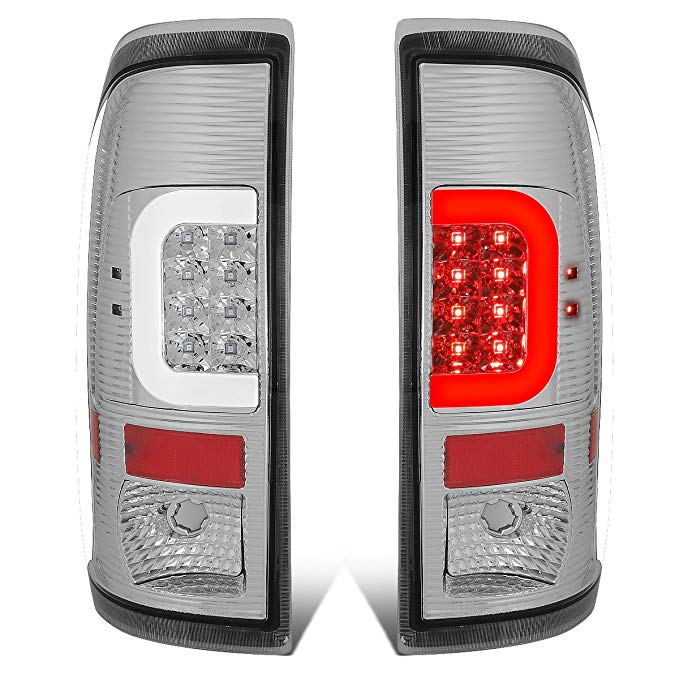 DNA Motoring TL-F25008-LED-3D-CH-G2 ペア クローム ハウジング Clear レンズ 3D LED Tail ライト [For 08-16 Ford F250-F550] (海外取寄せ品)[汎用品]