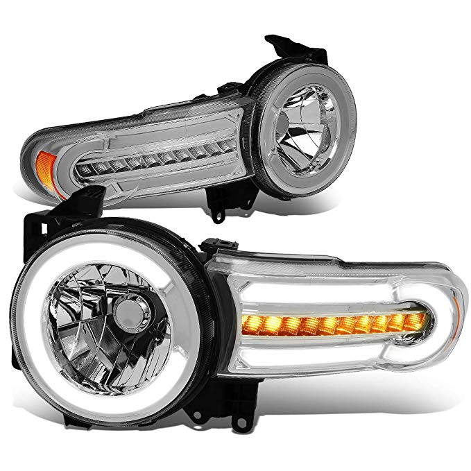 DNA Motoring HL-LB-FJC07-CH-AM ペア LED DRL+Sequential Chasing Turn Signal Headlight ランプ セット (海外取寄せ品)[汎用品]