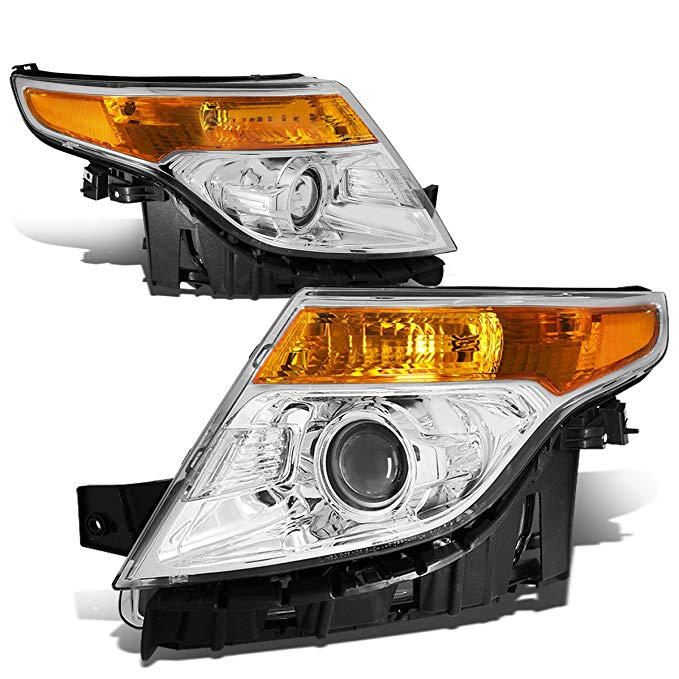 DNA Motoring クローム アンバー HL-OH-FEXP11-CH-AM Projector Headlight Assembly (Driver & Passenger Side) (海外取寄せ品)[汎用品]