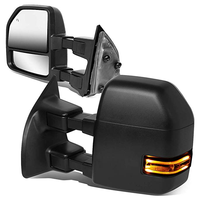 DNA Motoring TWM-052-T888-BK-CL Powered+Heated+LED Turn Signal Side Towing ミラー リプレイスメント (海外取寄せ品)[汎用品]