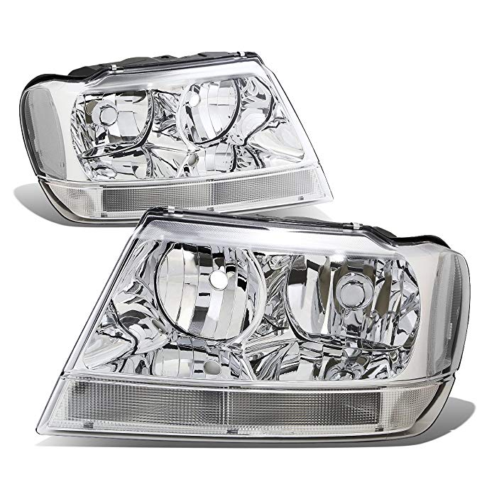 DNA Motoring クローム clear HL-OH-JGC99-CH-CL1 Headlight Assembly (Driver & Passenger Side) (海外取寄せ品)[汎用品]