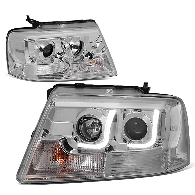 DNA Motoring クローム ハウジング Clear Corner HL-3DLB-F1504-CH-CL1 LED DRL Projector Headlight [for 04-08 Ford F150/Lincoln マーク LT] (海外取寄せ品)[汎用品]