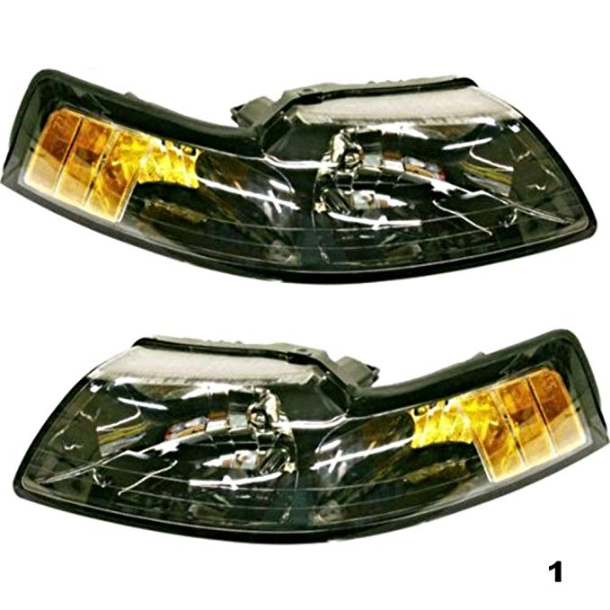 Aftermarket フィット 99-04 Mustang Left & Right Headlamp Assemblies w/スモーカー レンズ (Pair) (海外取寄せ品)[汎用品]