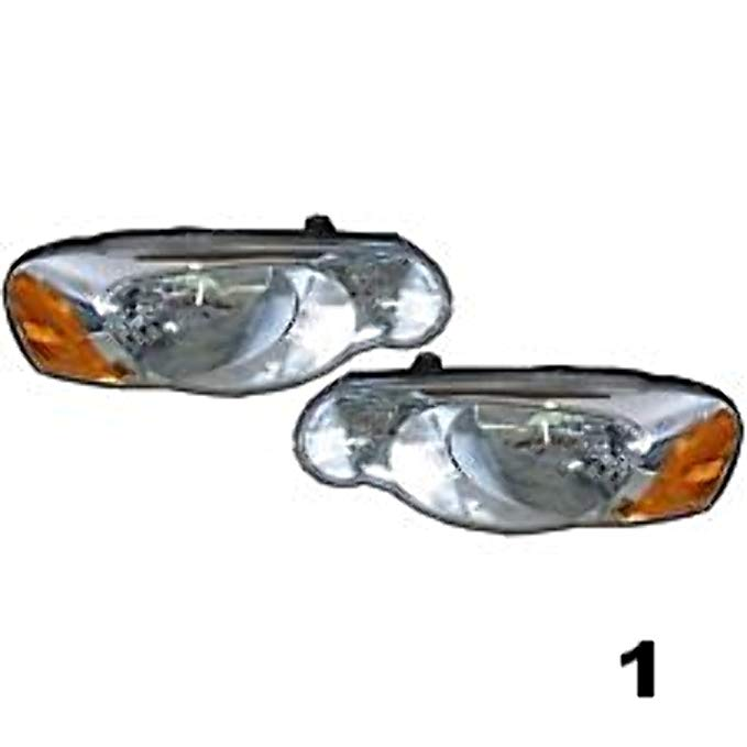 Aftermarket フィット 04-06 Chrysler Sebring Convertible & セダン L & R Headlamps w/o Leveling (Pair) (海外取寄せ品)[汎用品]