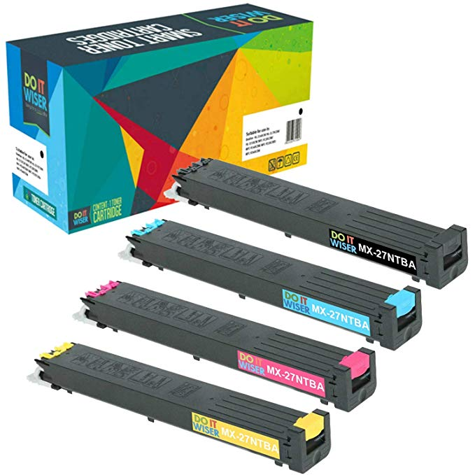 Do it Wiser Compatible Toner for Sharp MX-2300n, MX-2300, MX-2700n, MX-2700, MX-3500, MX-3500n, MX-3501, MX-4501n Printers - MX-27NTBA, MX-27NTCA, MX-27NTMA, MX-27NTYA (4-Pack) (海外取寄せ品)