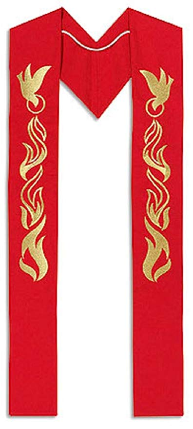 Pentecost Clergy Stole Embroidery on Polyester 110 インチ ロング, レッド (海外取寄せ品)