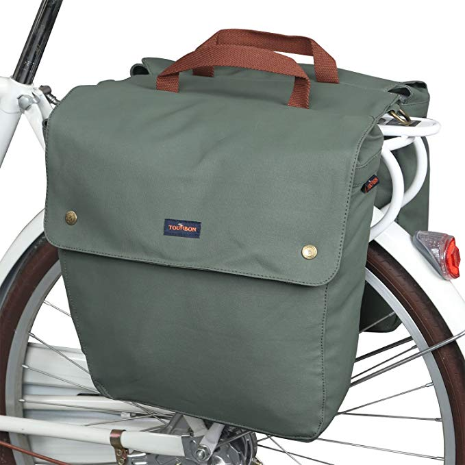 TOURBON キャンバス バイク Bags Rear Rack ロール-up Bicycle Panniers 防水 (海外取寄せ品)