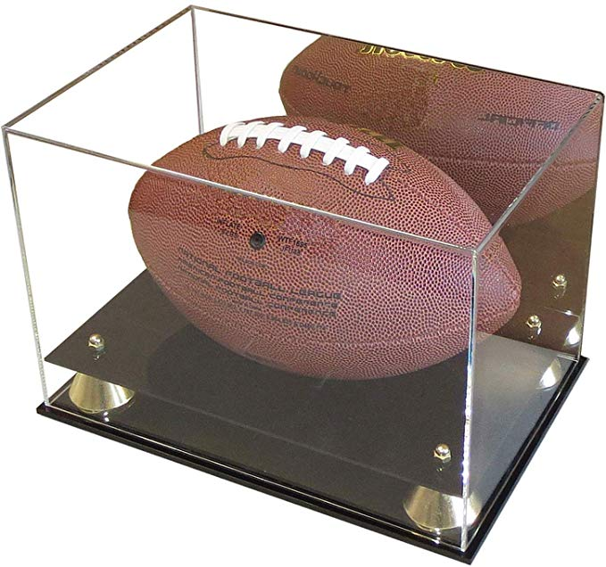DisplayGifts Deluxe UV アクリル Full サイズ Football ディスプレイ ケース Stand with ミラー, Riser Stand, ACFB18M (海外取寄せ品)