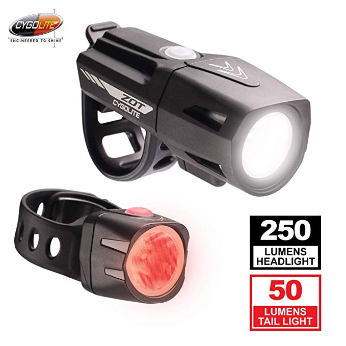 Cygolite Zot 250 Lumen Headlight & Dice TL 50 Lumen Tail Light USB Rechargeable Bicycle Light コンボ セット (海外取寄せ品)