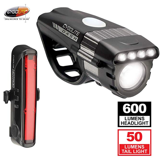Cygolite Dash プロ 600 Lumen Headlight & Hotrod 50 Lumen Tail Light USB Rechargeable Bicycle Light コンボ セット (海外取寄せ品)