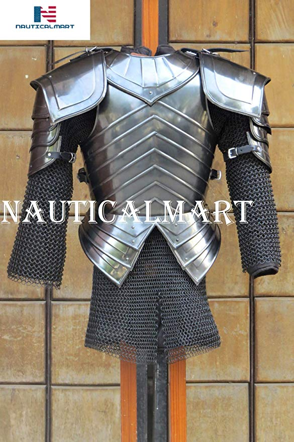 NauticalMart SCA コンバット アーマー, Blackened Brienne of Tarth アーマー Breastplate with Pauldron, Chainmail ハロウィン ファンクショナル Outfit (海外取寄せ品)