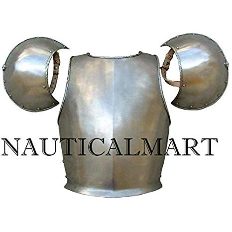 NauticalMart Medieval Breastplate with Pouldron シルバー ハロウィン コスチューム (海外取寄せ品)