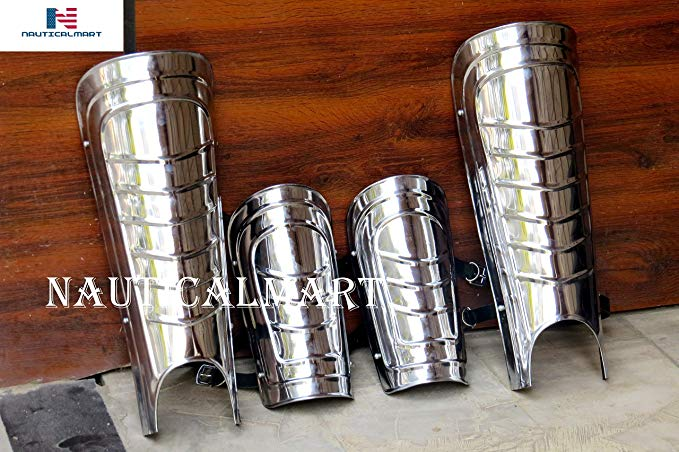 NauticalMart Medieval スチール アーム Guards and レッグ Guards セット ヴァンブレイス レッグ Greaves アーマー (海外取寄せ品)
