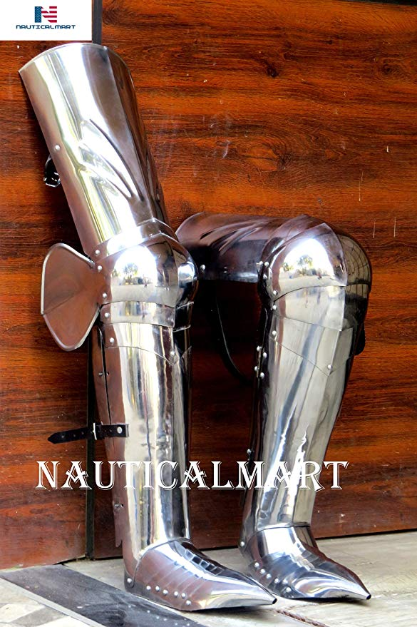 NauticalMart Medieval レッグ Guards レッグ アーマー, ゴシック Upper レッグ- ニー and Greaves Sabaton SCA ハロウィン コスチューム (海外取寄せ品)