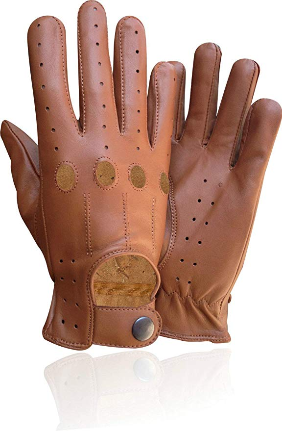 Genuine レザー メンズ Driving Unlined Knuckle Holes グローブ タン 507 (X-Large) (海外取寄せ品)