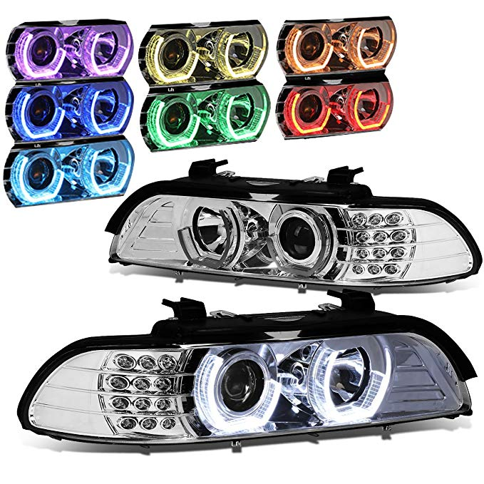 DNA Motoring クローム ハウジング 7 カラー Halo HL-3D-E3996-CL-7C Headlight Assembly (Driver & Passenger Side) (海外取寄せ品)[汎用品]