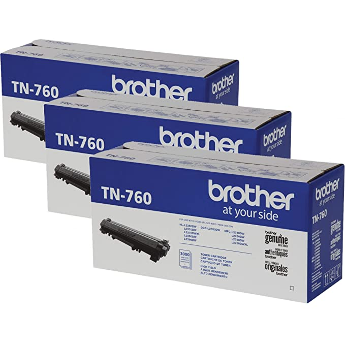 Brother TN-760 DCP-L2550DW HL-L2350DW 2370 2370 2390 2395 MFC-L2710 L2750 2750DW XL リプレイスメント Toner Cartridge (Black) in Retail パッケージング / 3-Toner Cartridges (海外取寄せ品)