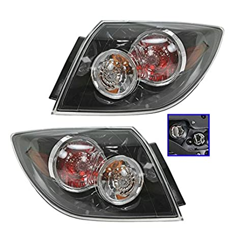 アウター Brake Tail Light Taillight Left Right ペア for 07-09 Mazda 3 Hatchback (海外取寄せ品)