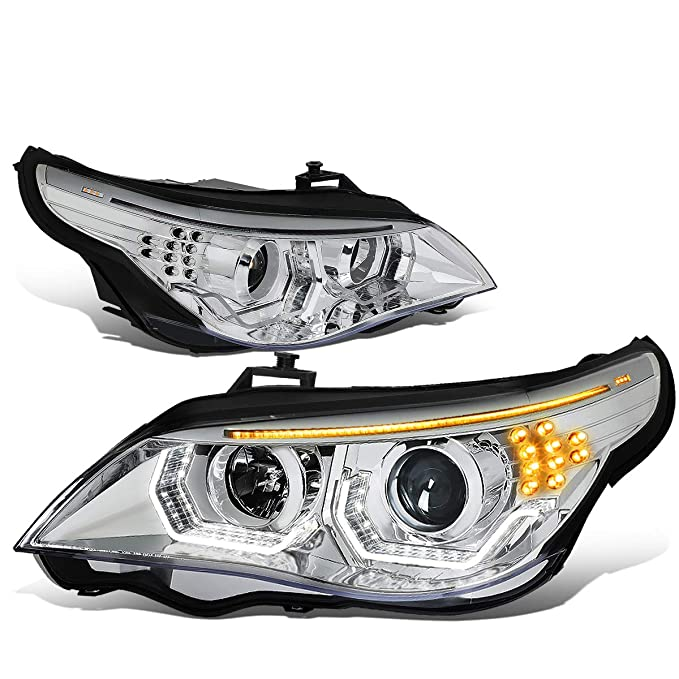 DNA MOTORING HL-3D-HID-E6003-CH ペア LED Turn Signal + 3D U-Halo + HID Projector Headlight ランプ リプレイスメント (海外取寄せ品)[汎用品]