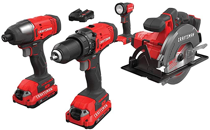CRAFTSMAN V20 Cordless Drill コンボ キット, 4 Tool (CMCK401D2) (海外取寄せ品)