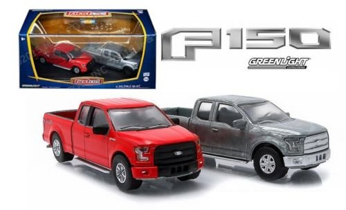 New 1:64 ファースト カット - Bare メタル & レッド 2015 FORD F-150 XLT Pickup Truck Diecast Model Car By Greenlight セット of 2 Cars (海外取寄せ品)