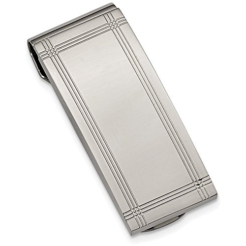 Chisel ステンレス スチール ポリッシュ and Grooved Money Clip (海外取寄せ品)