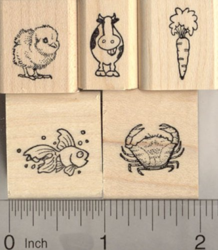 5 Tiny ラバー Stamps for Menu and Place Card Marking: インクルーズ Carrot, Chick, フィッシュ, カウ, and Crab (Vegetarian, Chicken, フィッシュ, Beef, and Seafood) (海外取寄せ品)