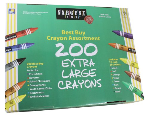 Sargent Art 200-カウント ビッグ Ones Crayon クラス パック, Best Buy Assortment, 55-3245 (海外取寄せ品)