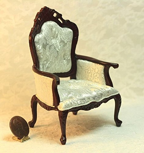 Dollhouse ミニチュア Tufted Mahogany アーム Chair in ホワイト シルク (海外取寄せ品)