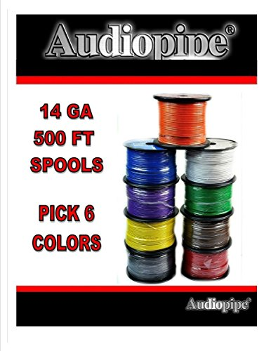Choose 6 カラー 14 Ga 500' ea Audiopipe Car Audio ホーム Primary Remote Wire (海外取寄せ品)