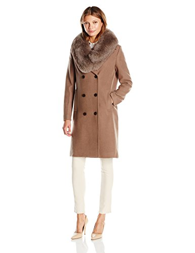 Elie Tahari レディース Trystan エレガント Tailored Peacoat with Real ファー Collar, Musk, S (海外取寄せ品)