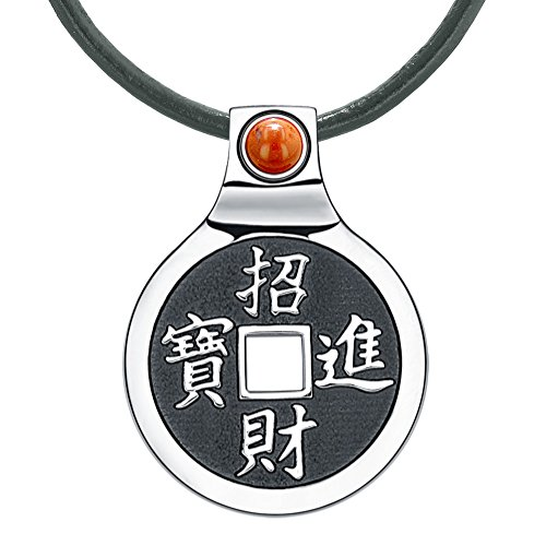 Feng Shui Lucky コイン Amulet Kanji マジック and 全品最安値に挑戦 Fortune Jasper 海外取寄せ品 公式通販 ネックレス ユニーク レッド レザー チャーム Powers