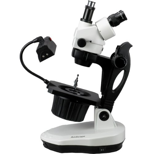 AmScope GM400TY Trinocular Gemology ステレオ Zoom Microscope, WH10x Eyepieces, 7X-90X Magnification, 0.7X-4.5X Zoom Objective, Halogen and Fluorescent ライティング, Inclined Pillar Stand, 110V-120V, インクルーズ 2.0X Barlow レンズ (海外取寄せ品)