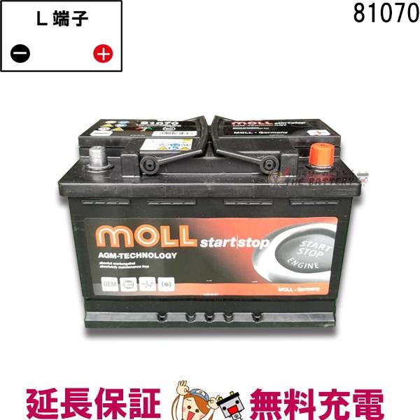 キャッシュレス5%還元 81070 自動車 バッテリー モル 交換 MOLL 欧州車 AGM アイドリングストップ