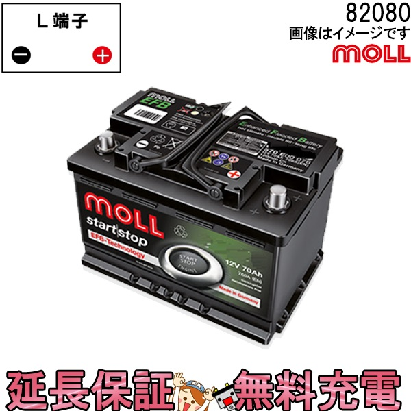 キャッシュレス5%還元 82080 自動車 バッテリー モル 交換 MOLL 欧州車 外車 EFB アイドリングストップ