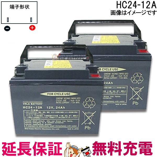 キャッシュレス5%還元 2個セット 12ヶ月保証付 HC24-12A セニアカー 車椅子 バッテリー 日立 サイクルバッテリー 互換 SC24-12 SER24-12 WP26-12NE