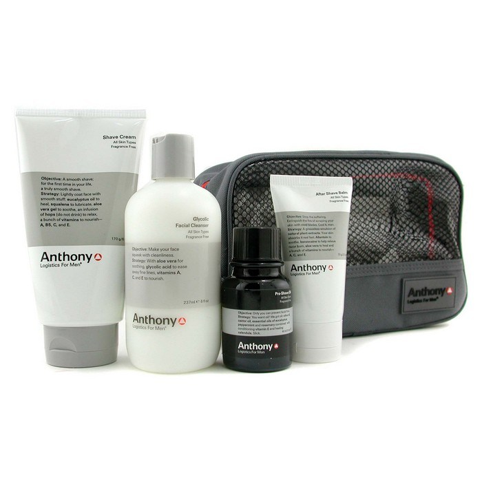 Anthony Logistics For Men The Perfect Shave Kit: Cleanser + Pre-Shave Oil + Shave Cream + After Shave Cream アンソニ 【海外直送】