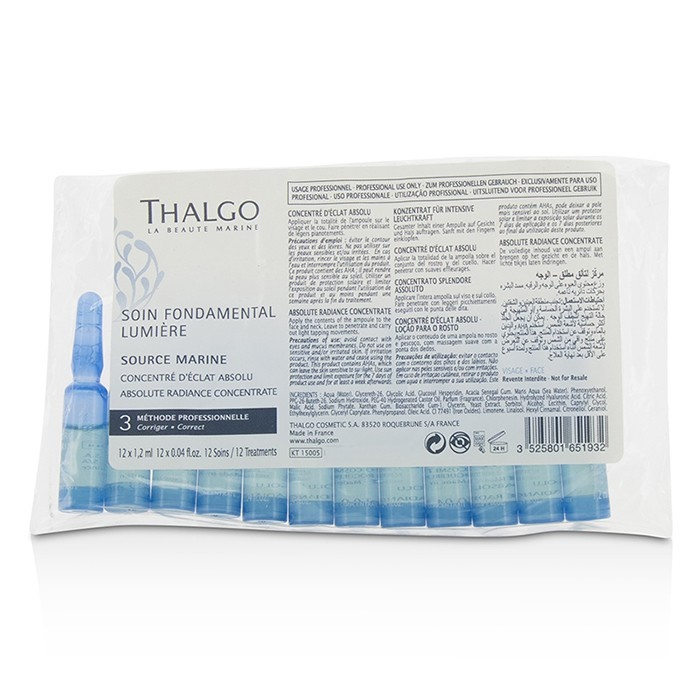 Thalgo Source Marine Absolute Radiance Concentrate - For Dull & Tired Skin (Salon Size; In Pack) タルゴ Source 【海外直送】