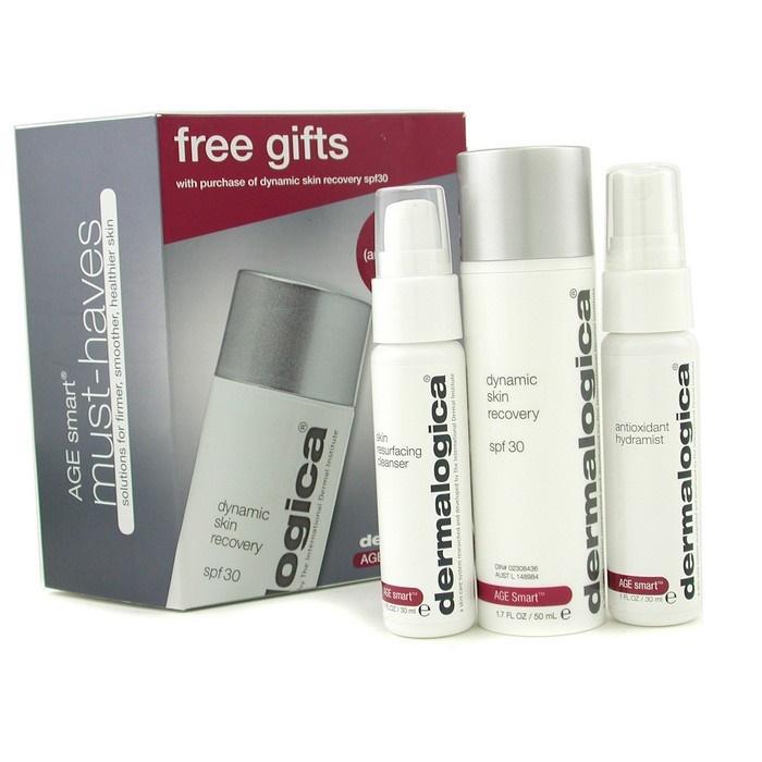 Dermalogica Age Smart Travel Set: Dynamic Skin Recovery + Skin Resurfacing Cleanser + Antioxidant HydraMist ダーマロ 【海外直送】