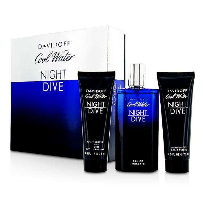 DavidoffCool Water Night Dive Coffret: Eau De Toilette Spray 125ml/4.2oz + After Shave Balm 75ml/2.5oz + Shower Gel 7【海外直送】