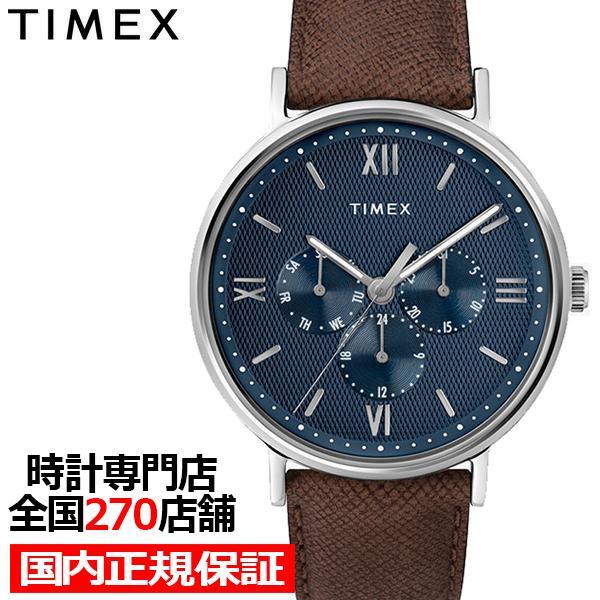【ポイント最大51倍&最大2000円OFFクーポン】タイメックス スタイル サウスビュー マルチ ブルー×ブラウン メンズ 腕時計 クオーツ 革ベルト TW2T35100