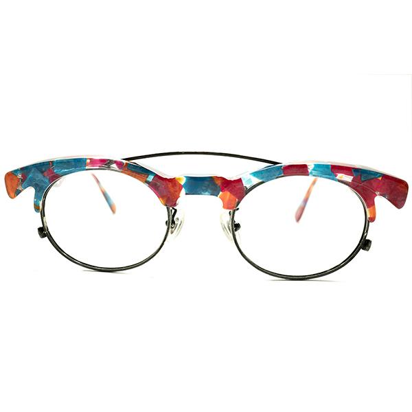 開放的多色使 デッドストック 1980s-1990s フランス製 MADE IN FRANCE TRACTION 初期モデル CANDYカラー W-BRIDGE ブロー×オーバル ヴィンテージ メガネ 眼鏡A5318