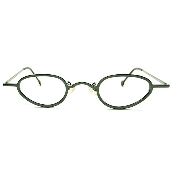 超小径×超LONGマウント構造 1990s ITALY製 l.a.Eyeworks ナローANTIQUE STYLE変形ラウンド JAGUAR GREEN×艶消黒 実寸 38/24 ビンテージヴィンテージ 眼鏡メガネ A5331