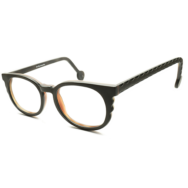 三層レイヤード 1990sイタリア製 l.a.Eyeworks 凹凸カッティングWAVEデザイン表面 MATT BLACK 艶消黒 ウェリントン 眼鏡 実寸 46/22 ビンテージヴィンテージ 眼鏡メガネ A5334