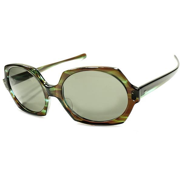迷彩風生地&大ぶりSIZE採用 AO NEWライン 1960s後期-70s AMERICAN OPTICAL アメリカンオプティカル 6角形HEXAGON サングラス ビンテージヴィンテージ 眼鏡メガネ a5438